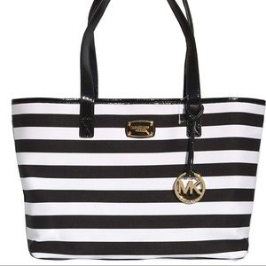 MK Michael Kors Canvas Summer Stripe Tote Handbag